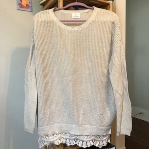 UO Pins & Needles Cream Lace Lined Sweater
